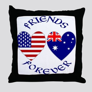 Australia USA Friends Throw Pillow